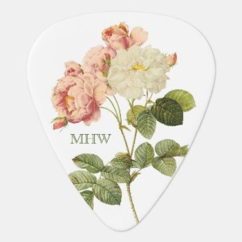 Vintage Flowers Custom Monogram Guitar Pick 2 by PizzaRiia at Zazzle