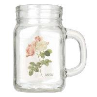 Vintage Flowers custom monogram Mason jar 2