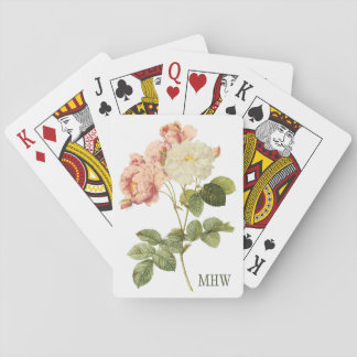 Vintage Flowers custom monogram playing cards 2