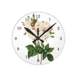 Vintage Flowers Floral Blush Noisette Rose Redoute Round Clock