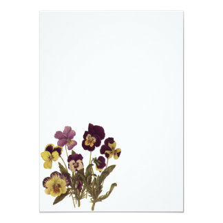 Vintage Flowers, Floral Garden Pansies in Bloom Personalized Announcements