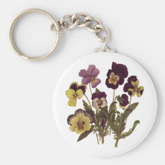 Vintage Flowers, Floral Garden Pansies in Bloom Key Chain