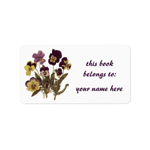 Vintage Flowers, Floral Garden Pansies in Bloom Personalized Address Labels