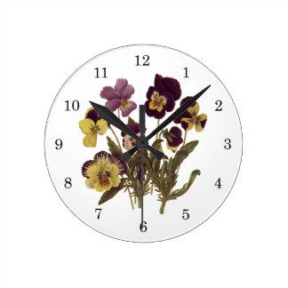 Vintage Flowers, Floral Garden Pansies in Bloom Round Clocks