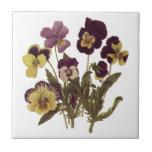 Vintage Flowers, Floral Garden Pansies in Bloom Small Square Tile