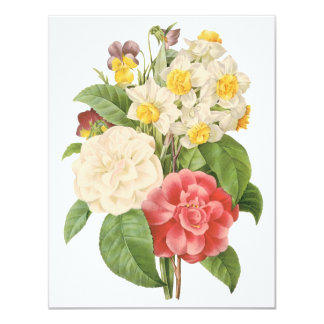 "Vintage Flowers Floral Informal Bouquet by Redoute 4.25"" X 5.5"" Invitation Card"
