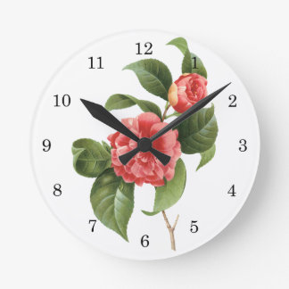Vintage Flowers Floral Red Pink Camellias Redoute Round Wallclock