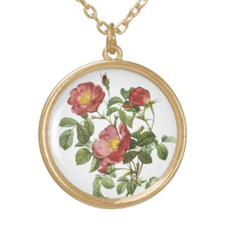 Vintage Flowers Floral Red Rose of Love by Redoute Gold Plated Necklace