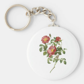 Vintage Flowers Floral Red Rose of Love by Redoute Keychain