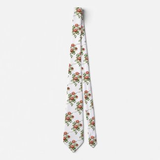 Vintage Flowers Floral Red Rose of Love by Redoute Neck Tie