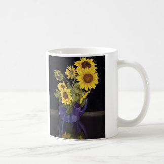 Vintage Flowers, Garden Sunflowers in a Vase Classic White Coffee Mug