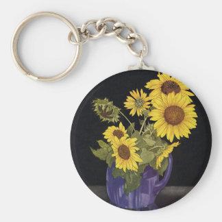 Vintage Flowers, Garden Sunflowers in a Vase Keychain