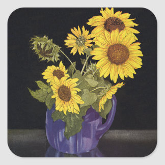 Vintage Flowers, Garden Sunflowers in a Vase Sticker