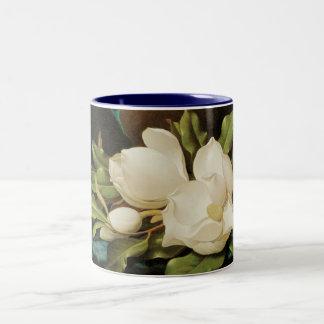 Vintage Flowers, Giant Magnolias by Martin Heade Two-Tone Coffee Mug