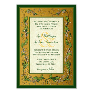 Vintage Flowers Gold and Green Wedding W752 5x7 Paper Invitation Card