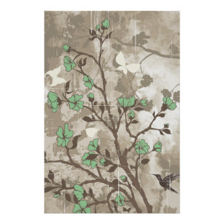 Vintage flowers green taupe floral grunge custom poster