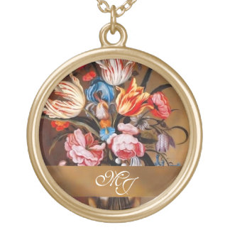 Vintage Flowers in a Vase Feminine Gold Plated Necklace