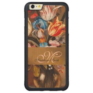 Vintage Flowers in a Vase   Monogrammed Case Carved® Maple iPhone 6 Plus Bumper Case