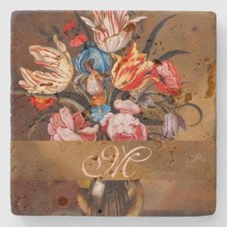 Vintage Flowers in a Vase   Monogrammed Coaster