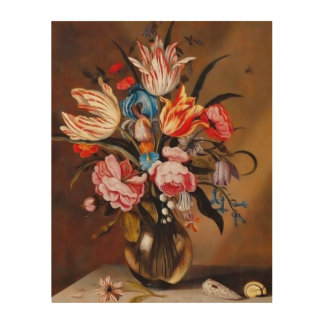 Vintage Flowers in a Vase | Wooden Canvas Wood Wall Art