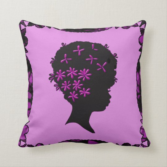 Vintage Flowers In Afro Throw Pillow