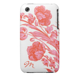 Vintage Flowers in Bold Colors, Orange and Pink iPhone 3 Cover