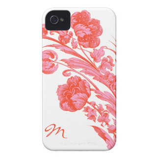 Vintage Flowers in Bold Colors, Orange and Pink iPhone 4 Case-Mate Case