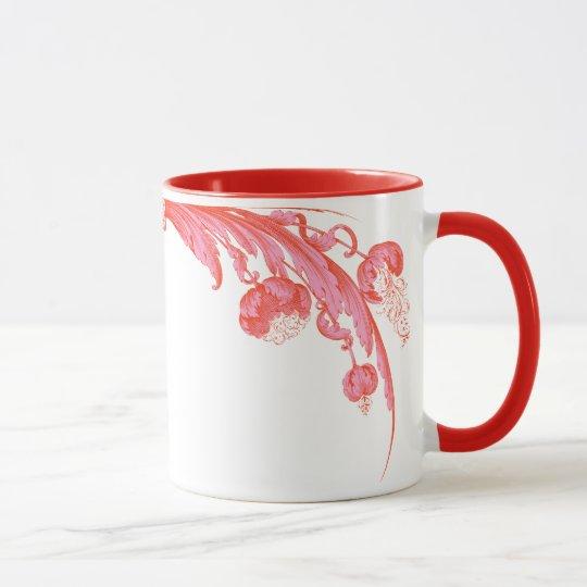 Vintage Flowers in Bold Colors, Orange and Pink Mug