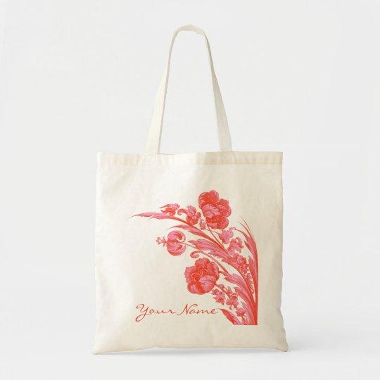 Vintage Flowers in Bold Colors, Orange and Pink Tote Bag