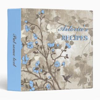 Vintage flowers light blue, taupe floral recipe binder