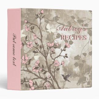 Vintage flowers light pink, taupe floral recipe binder