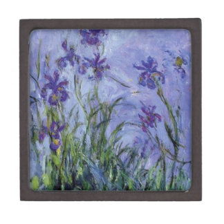 vintage flowers lilac irises 1917 Monet flora art Jewelry Box