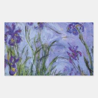 vintage flowers lilac irises 1917 Monet flora art Rectangular Sticker