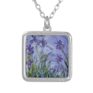 vintage flowers lilac irises 1917 Monet flora art Silver Plated Necklace