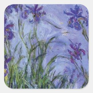 vintage flowers lilac-irises-1917 monet. square stickers