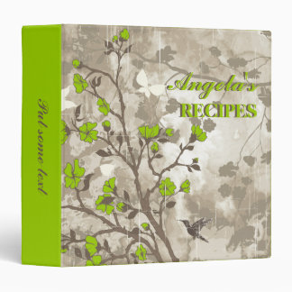 Vintage flowers lime green, taupe floral recipe 3 ring binder