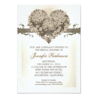 vintage flowers love heart bridal shower invites