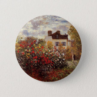 vintage flowers monet garden-in-argenteuil-sun pinback button