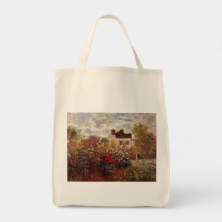 vintage flowers monet garden-in-argenteuil-sun tote bag