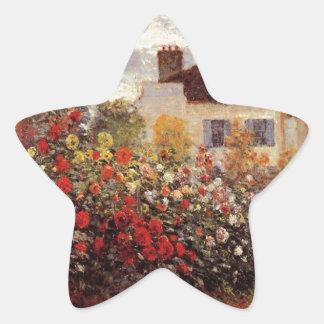 vintage flowers monet-s-garden-in-argenteuil-sun star sticker
