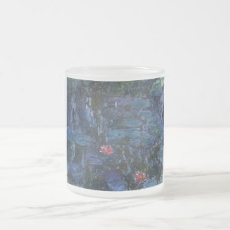 vintage flowers monet water lilies reflections art 10 oz frosted glass coffee mug