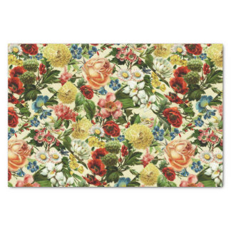 """Vintage flowers monogram floral country 10"""" x 15"""" tissue paper"""