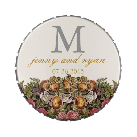 Vintage Flowers Monogram Jelly Belly Tin