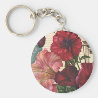 Vintage Flowers, Morning Glories in the Garden Keychains