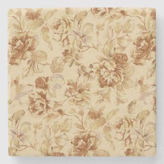 Vintage Flowers Old Paper Pattern Burnt Parchment Stone Coaster
