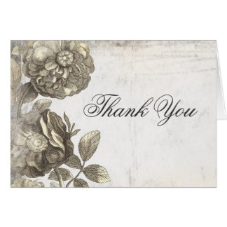 vintage flowers old shabby thank you card