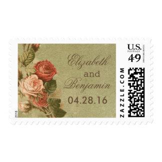 vintage flowers old wedding postage stamps