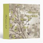 Vintage flowers olive green, taupe floral recipe 3 ring binders