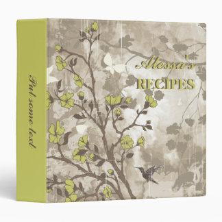 Vintage flowers olive green, taupe floral recipe binder
