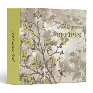 Vintage flowers olive green, taupe floral recipe 3 ring binders